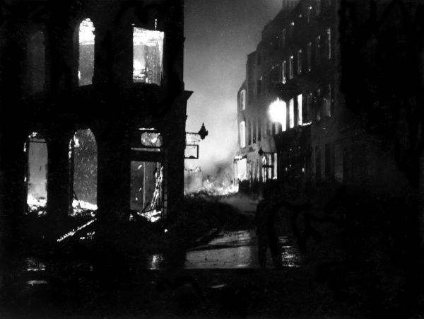 Scene in St Andrews Street, Holborn, following a bombing raid and incendiary attack, 11 May 1941