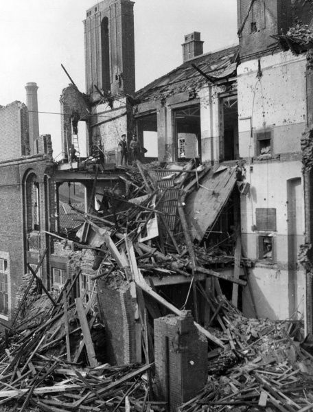 Blitz in London -- a ruined building, with debris consisting of wood and metal