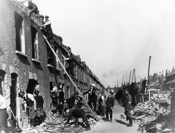 Bomb damage in Sidney Street, East London, WW2. Both sides of the entire street were shattered by two bombs