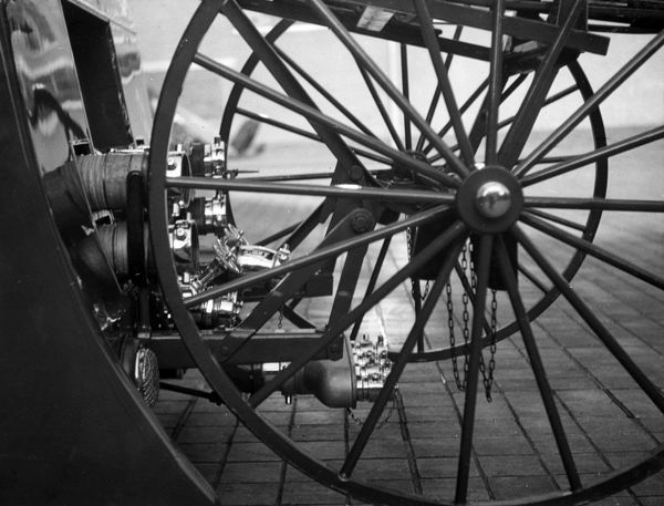 Close-up of wheels on a London Fire Brigade fire engine