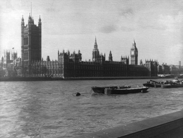 Houses of Parliament, Westminster, London, viewed from the Embankment in front of Lambeth Palace, March 1966