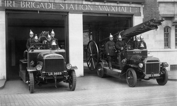 LCC-London Fire Brigade crews and motorised vehicles at Vauxhall Fire Station, London