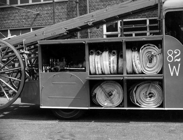 LFB Merryweather fire engine with stored hoses