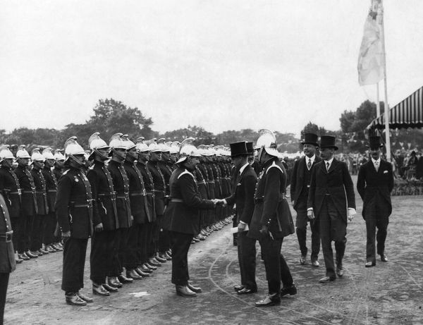The Prince of Wales (later King Edward VIII) at the Annual Review of the London Fire Brigade in Victoria Park