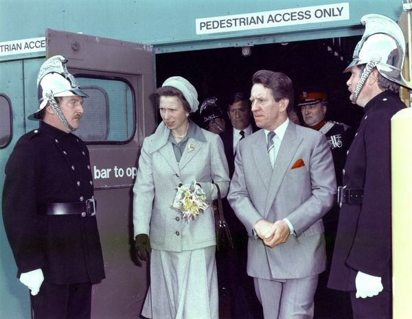 Princess Anne at the Birmingham Fire Show, National Exhibition Centre, Birmingham, on 21 May 1984, with Chief Officer B Fuller - The CFB Stand