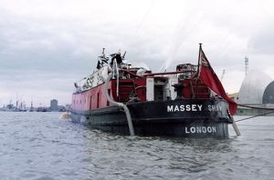Massey Shaw fireboat in action, River Thames, London