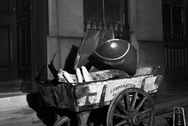 A City of London handcart with scrap bomb ordinance, Southwark Bridge