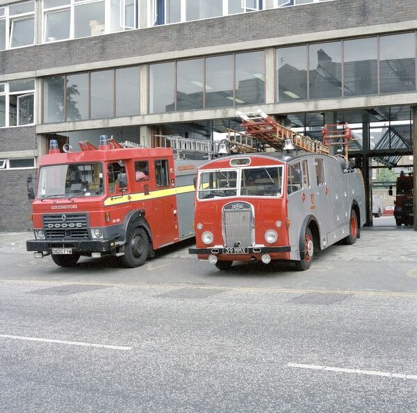 A former Middlesex Fire Brigade pump escape at Clapham fire station