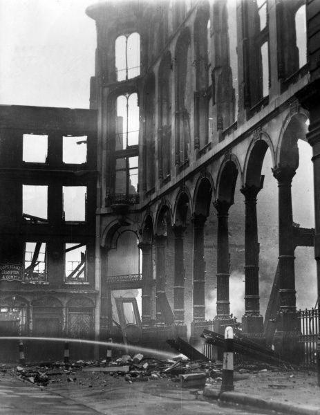 Scene of devastation in Bow Churchyard, City of London, following a bombing raid on 16 September 1940