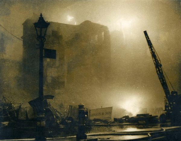 Blitz in the City of London -- fire and smoke on the worst night of bombing