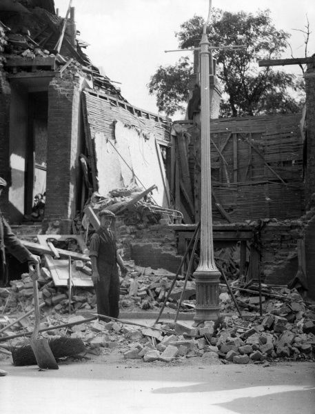 Blitz in London - Foreign Street, Camberwell, SE5, a residential property hit by a high explosive bomb on 29 August 1940