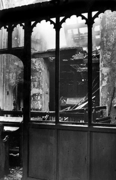 Blitz in London -- fire at Holy Trinity Church in High Street, Hounslow, 1 June 1943, with a view of the organ