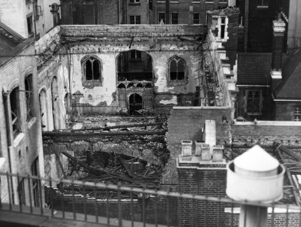 Blitz in the City of London -- Merchant Taylors Hall, part of the premises of the livery company, dating back to the 14th century, hit by a number of incendiary bombs, 18 September 1940. The building was reconstructed and reopened in 1959