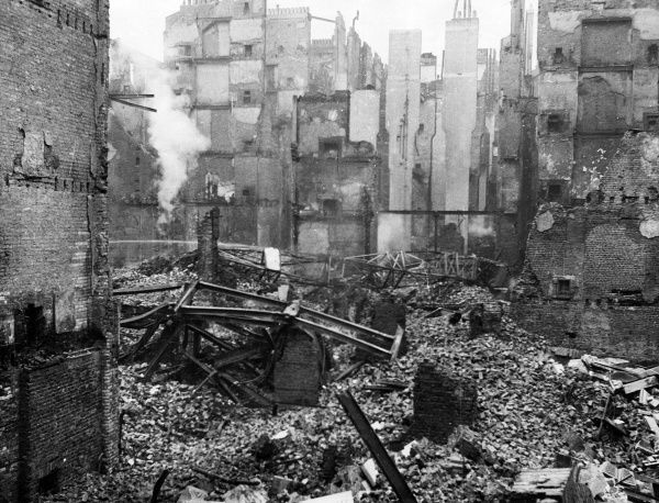 Blitz in London -- the remains of a safe deposit building at Chancery Lane, following an air raid on 25 September 1940