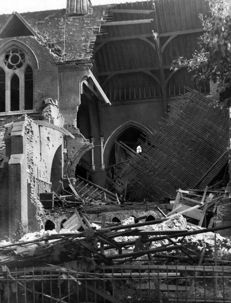 Blitz in London -- St Cyprian's Church, Adelaide Road (now Adelaide Avenue), Brockley, SE London, destroyed by bombing in September 1940