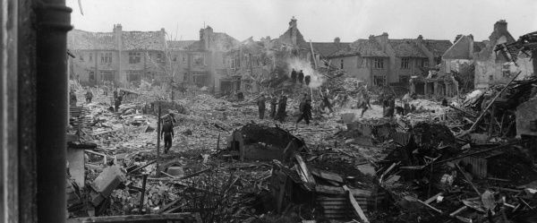 Bomb damage in Kilgour Road, SE London, WW2