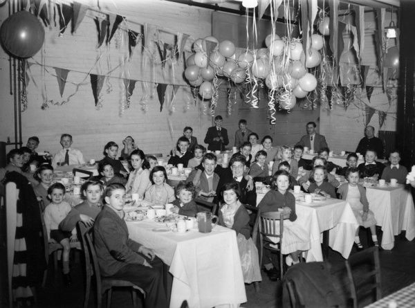 Children enjoying themselves at a Christmas party at the London Fire Brigade's Lambeth fire station (D61), 27 December 1957