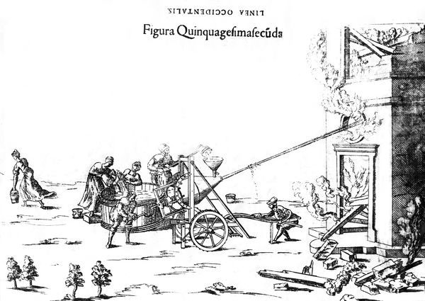 Engraving of people operating a large worm-driven fire squirt mounted on two wheels, to put out a fire in a burning building, reproduced from Besoni, Theatrum Instrumentorum et Machinarum, 1568