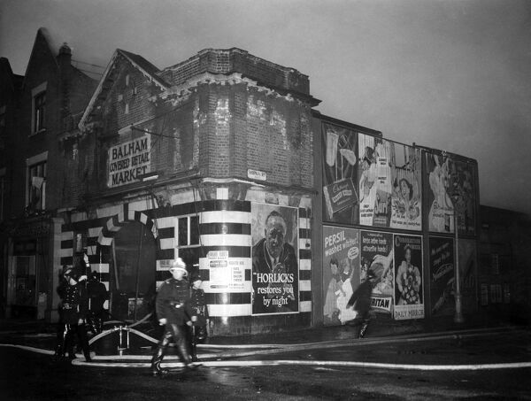 Six-Pump Fire at the Balham Covered Retail Market, 31 Bedford Hill (on junction with Shipka Road), Balham, London 8th May 1953