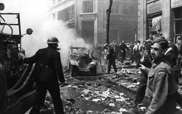 Fire and Civil Defence services at work following a bomb attack in Charlton, SE London, 30 June 1944