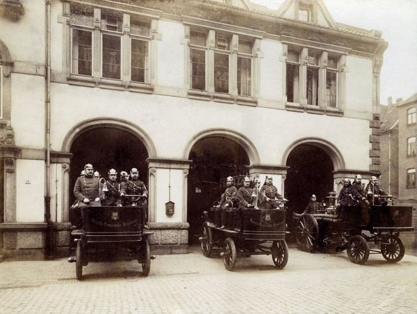 Three fire engines and crews, Hanover, Germany