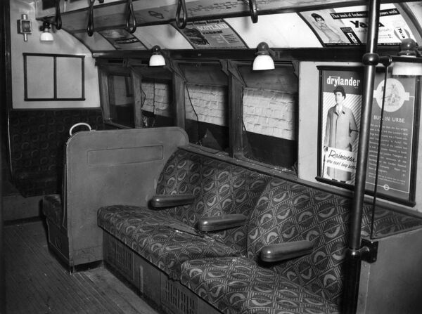 Fire in a London Underground train near Holland Park Station, 28 July 1958. Showing the third carriage, with no apparent fire damage, but with windows broken by passengers (this occurred in the first four carriages)