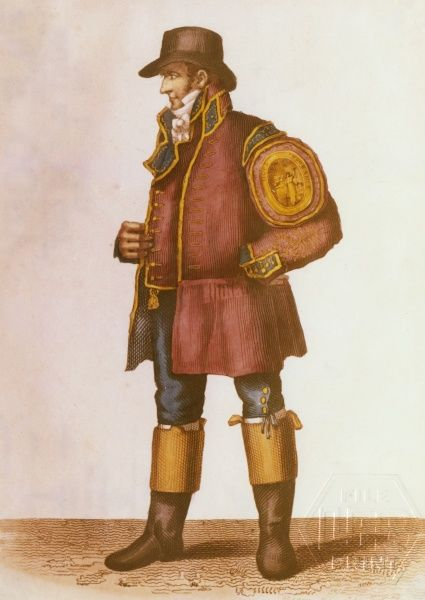Colour engraving of a Hope Insurance Company fireman in uniform, with a large badge on his sleeve. At one time, firemen worked for different insurance companies and wore different colour uniforms
