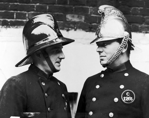 A significant landmark when on 14 July 1934 the LFB started to replace its traditional brass helmet with a new compressed cork design