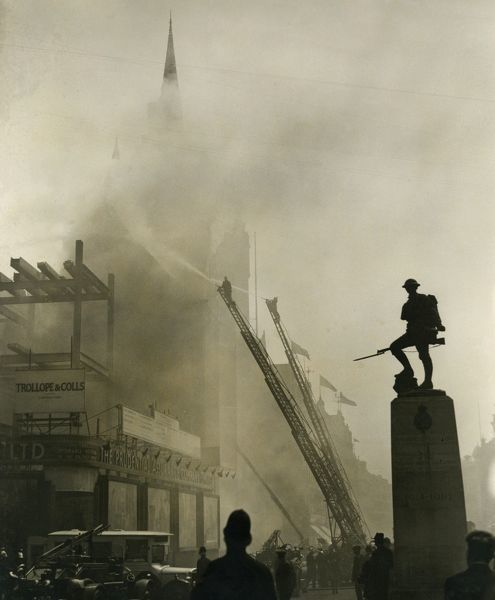 Firefighters at work on a major fire at the Prudential Assurance Company building in High Holborn, London WC1, on 16 June 1932