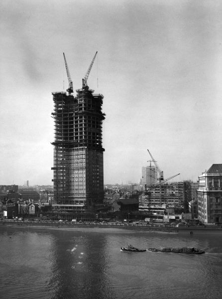 Millbank Tower under construction in March 1961, London SW1. Originally known as Vickers Tower, it was completed in 1963. It is located opposite LFB Headquarters