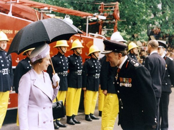 Visit of Queen Elizabeth II to the Headquarters of the London Fire Brigade, Lambeth, on 9 June 1977