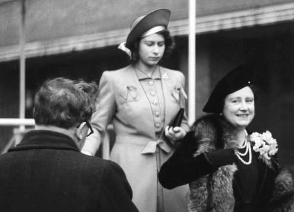 Queen Elizabeth and Princess Elizabeth at a Review of Firewomen at the Lambeth Headquarters of the London Fire Brigade during the Second World War