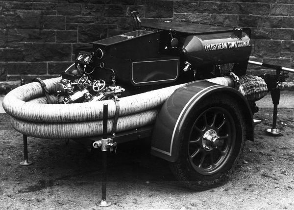 The latest trailer water pump, presented in September 1940, seen here at Dulwich Fire Station, south London
