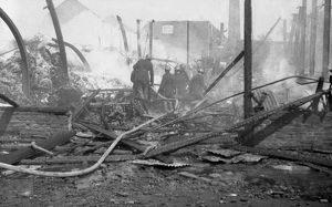 Aftermath of a factory fire, Fire Force Area 34, WW2