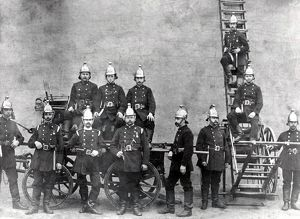 Barnet Fire Brigade with fire fighting equipment