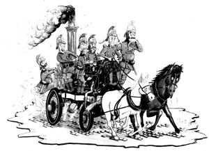 Chris Reynolds Victorian fire engine cartoon