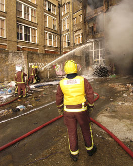 Firefighters at scene of fire in Commercial Road