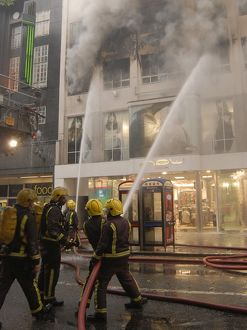 Firefighters at scene of shop fire in Oxford Street