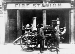 Horse drawn steamer at Sutton fire station, Surrey