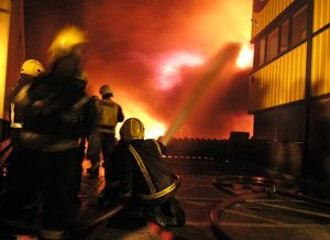Scene of fire at commercial premises, Barking