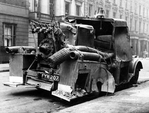 Blitz in London -- damaged fire vehicle, WW2