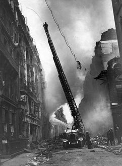 Blitz in London -- turntable ladder in operation, WW2