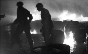 Firefighters in action, Mitcham, Surrey, WW2