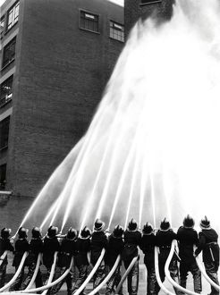 Firefighters and hoses, LFB annual review, Lambeth HQ LFB150