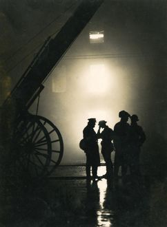 Firefighters standing by during Blitz, London, WW2