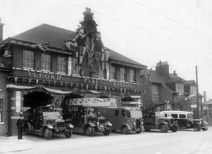 Ilford Fire Station decorated with flags
