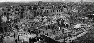 Scene of devastation after flying bomb attack, WW2
